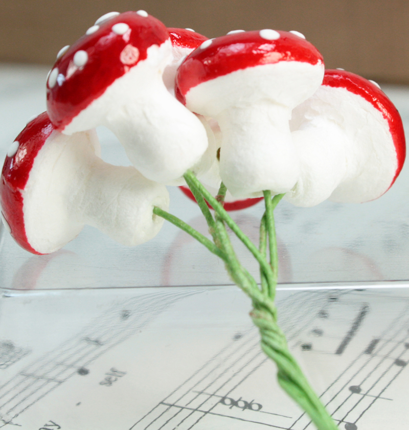 Red - Large Cotton Spun Mushrooms- Set of 10 - 6-703-1800