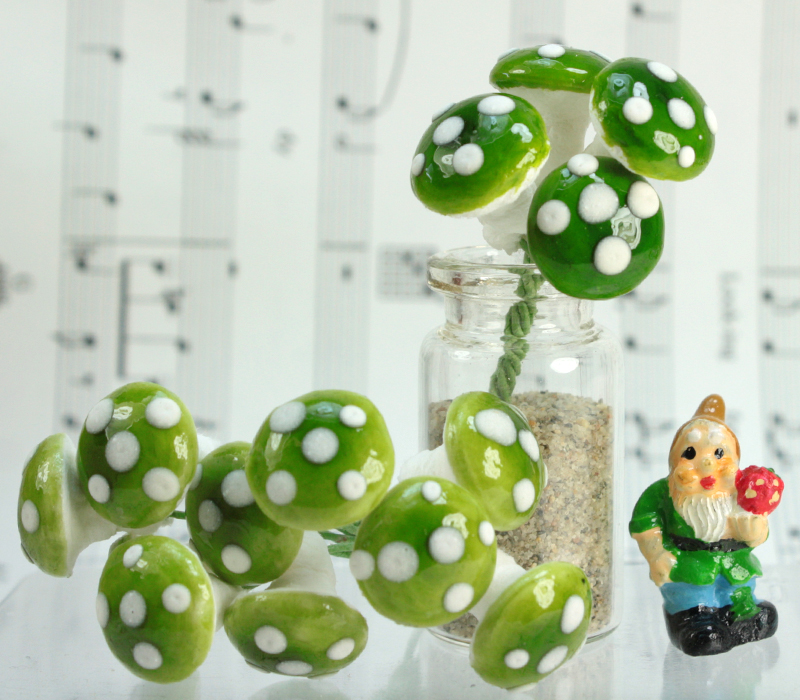 Green - Large Cotton Mushrooms - 6-001-1G