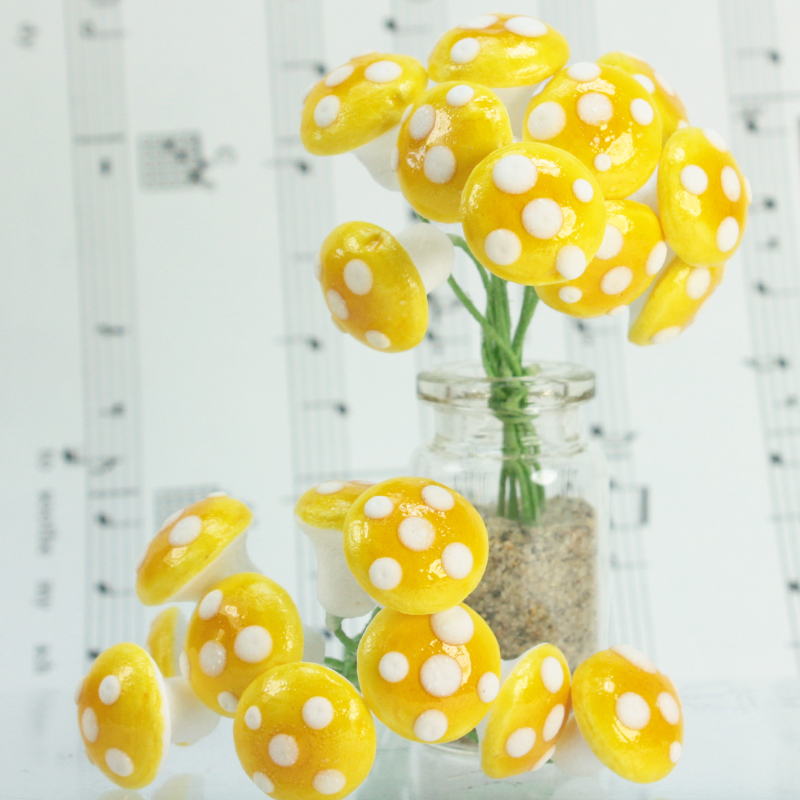 Golden Yellow - Large Cotton Mushrooms -  6-001-1Y