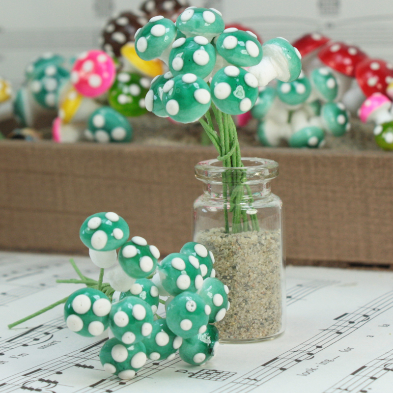 Blue - Small Cotton Mushrooms - 6-002-1B