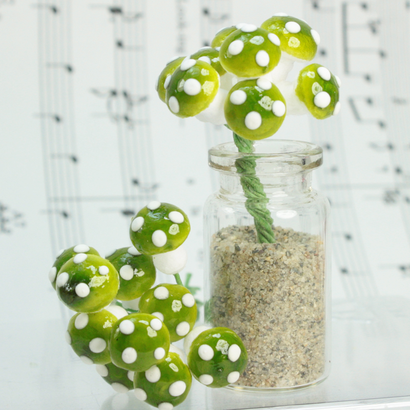 Green - Small Cotton Mushrooms - 6-002-1G