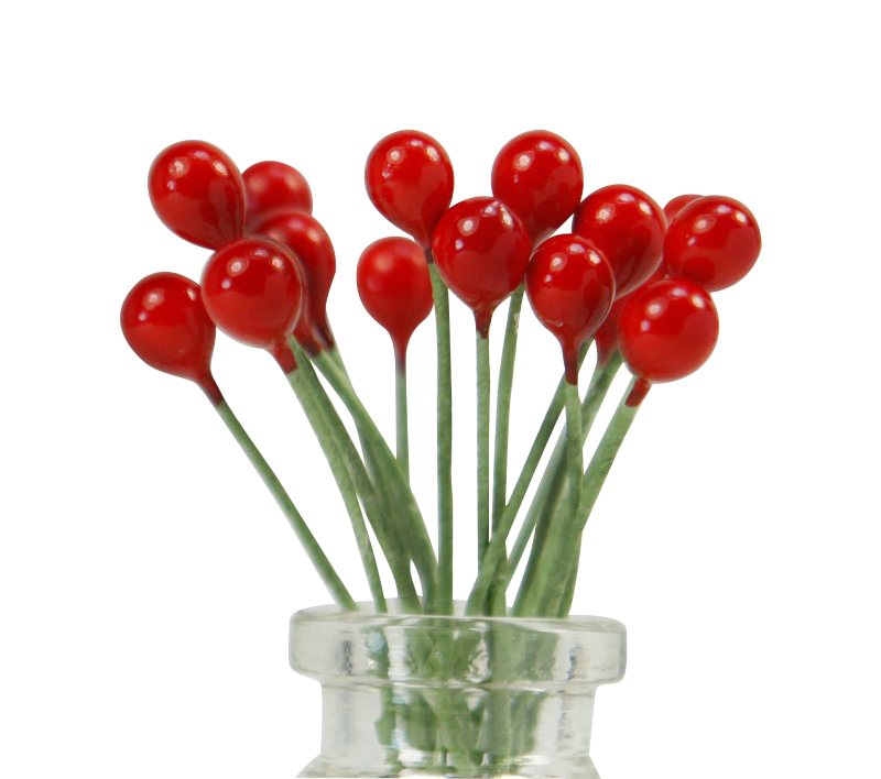 Red - Berries - Beads (Double Headed Accents) 72 pieces