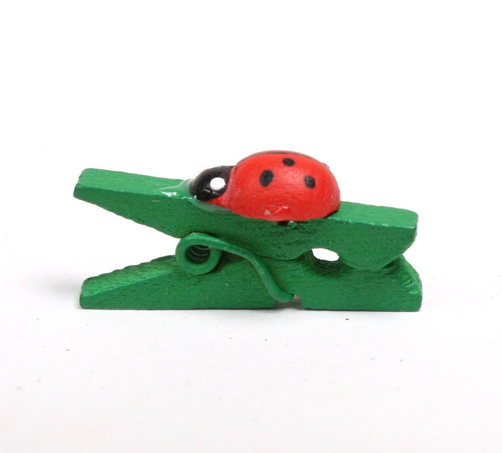 Ladybug Clothes Pins - Set of 12 - Dollhouse Minis - 800-1537