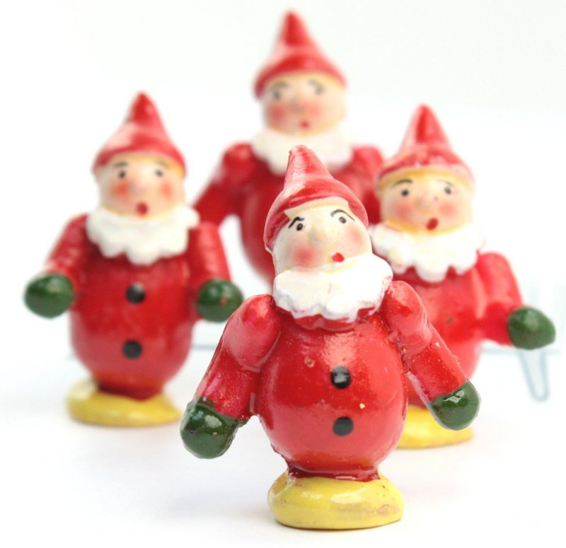 "Holiday Elves - Wooden - 1"" Mini - Set of Four! #804-6752"