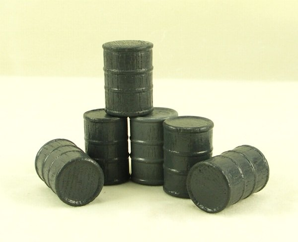 Cargo-To-Go: - Six O GA Gray Industrial Barrels - 101-0904 - Gra