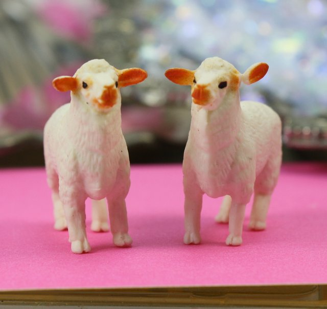 Sheep - White - Hand Painted -  Set of 4 - 234-5822