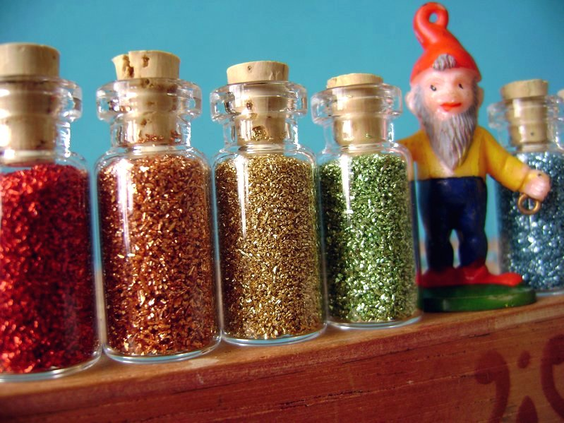 Glass Glitter Rainbow Bottle Set  #311-0014
