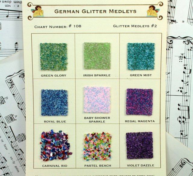 Sample Cards - Glass Glitter Medleys - Cool Blends - 108