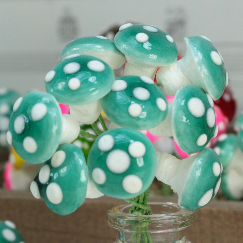 Blue - Large Cotton Mushrooms - 6-001-1B