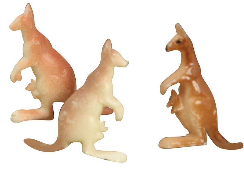 "Kangaroos - 3/4"" Tall - Vintage German - Set of 8 - IV3-2437"
