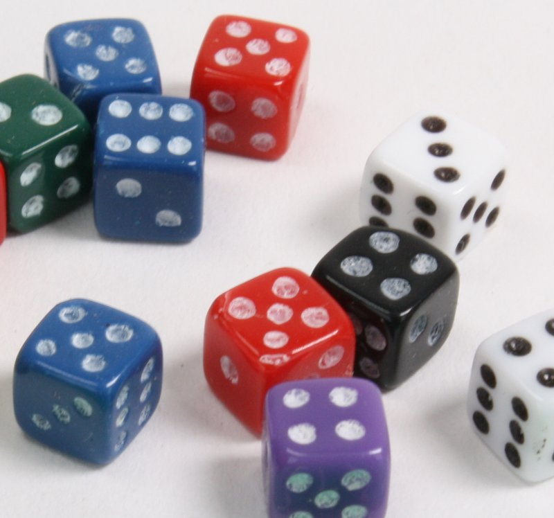 "Dice - Micro Size 3/16"" - Mixed Set of 12 pcs - IV3-3600"