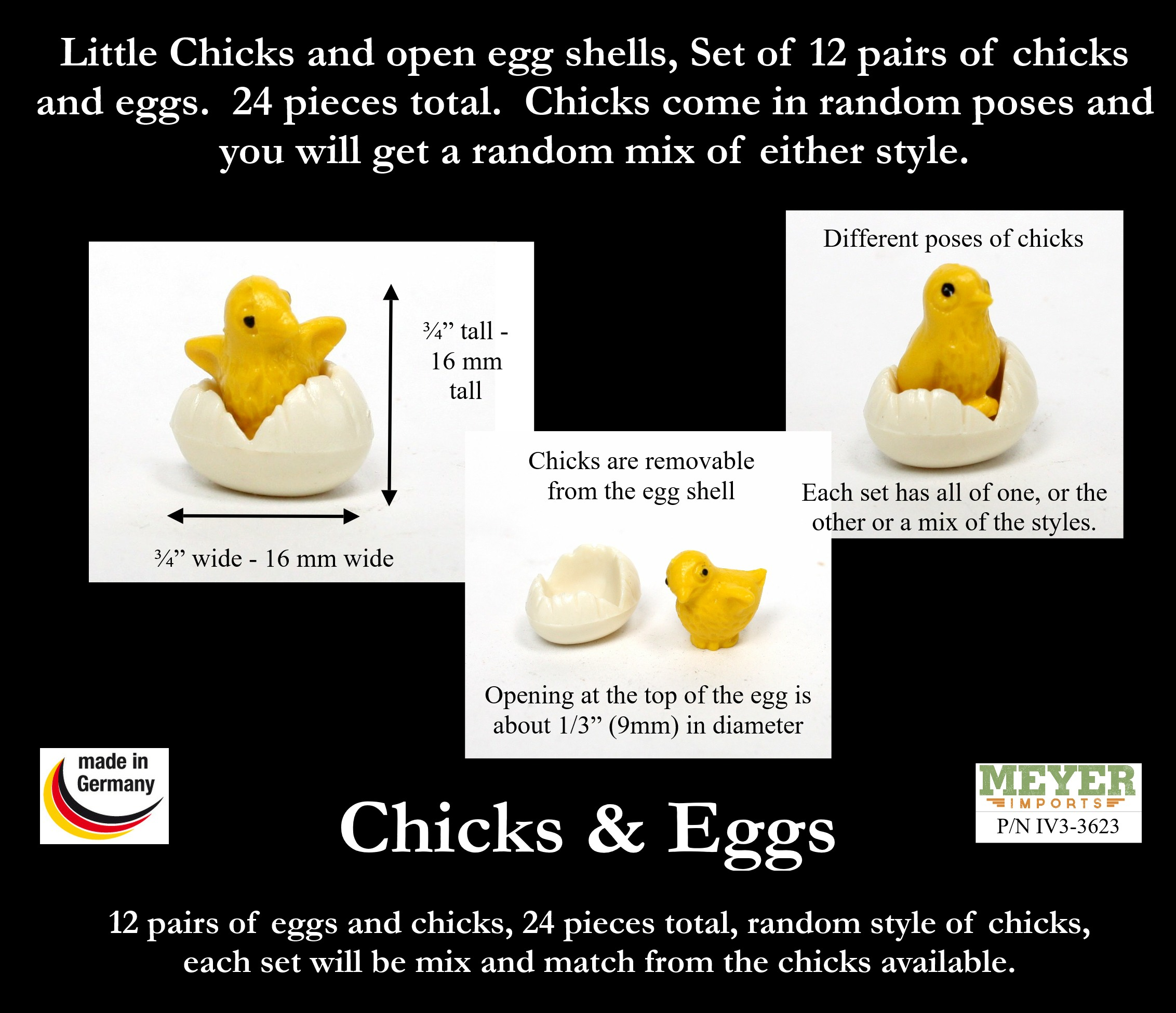 Little Chicks and Eggs. Set of 12 - German Import - IV3-3623