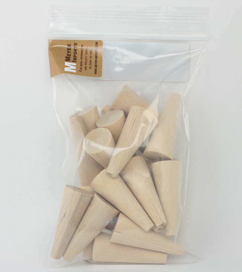 "Wooden Craft Cones - 20 Pieces - 1  3/4"" Tall - IV3-2483"