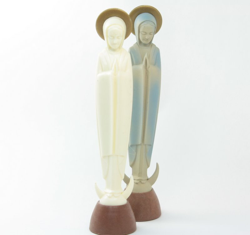White Madonna  Virgin Mary Figures - Set of 2 - IV3-2537