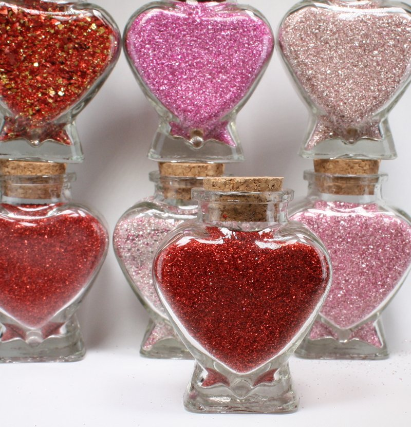 Heart Jars - Set of 8 - Reds and Pink - 16+oz  Glitter - J-1003