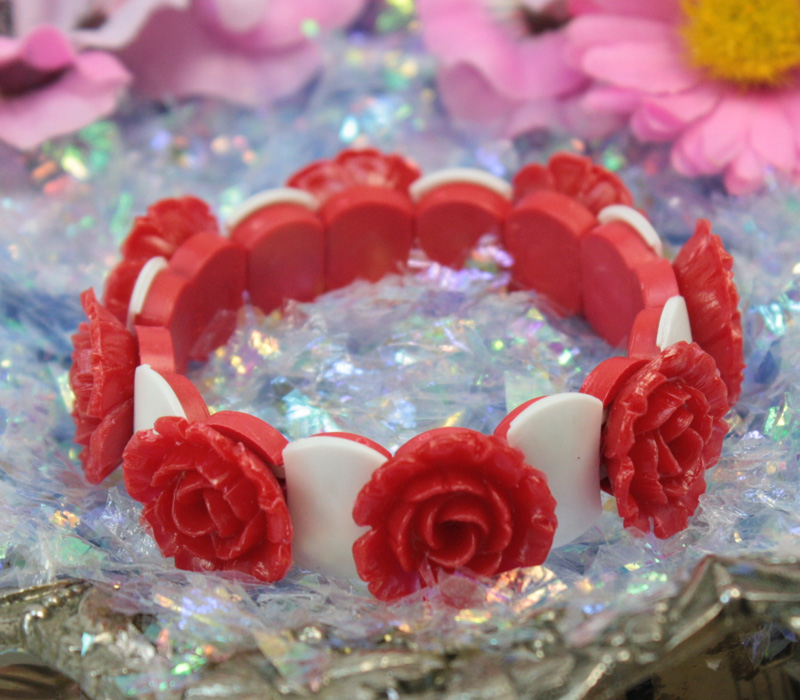 .Red Carnation Flower Bracelet - 203-4-1203-BR