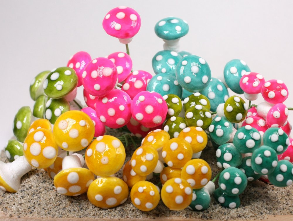 Mega Mix - Pastel Mushrooms! 80 pcs - Spun Cotton - IV3-3632